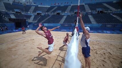 Melhores momentos: Alison/Álvaro (BRA) 0 X 2 Plavins/Tocs (LET) pelo vôlei de praia masculino