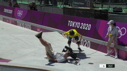 Skatista australiano derruba câmera durante volta classificatória - Olimpíadas de Tóquio