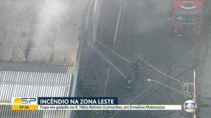 Incêndio atinge galpão na Zona Leste da capital