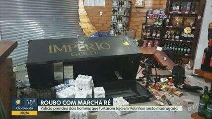 Suspeitos invadem loja de bebidas alcóolicas com carro em marcha à ré em Valinhos