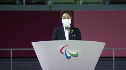 Presidente do Comitê Organizador dos Jogos de Tóquio, Seiko Hashimoto fala na cerimônia de abertura das Paralimpíadas