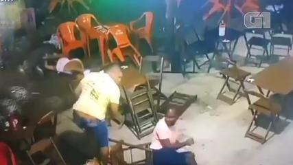VÍDEO: Câmeras de segurança registram confusão em bar que terminou com morte de PM na BA