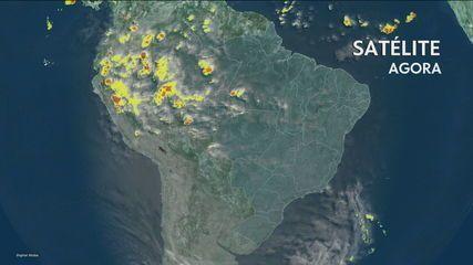 Litoral paulista tem chuva fraca durante o dia; temporais atingem cidades de três estados
