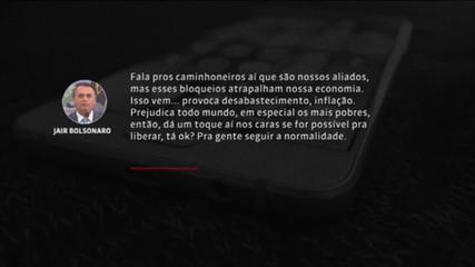 Em áudio, Bolsonaro pede que caminhoneiros liberem estradas