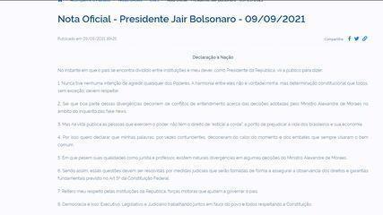 Bolsonaro publica 'Declaração à Nação'