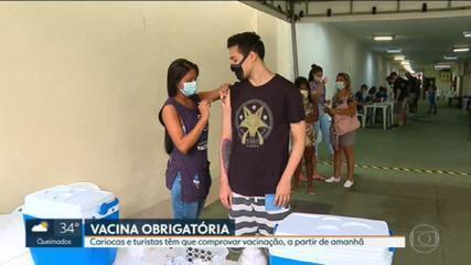 Cariocas e turistas têm que comprovar vacinação a partir desta quarta