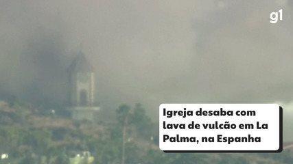 La iglesia se derrumbó con los volcanes del volcán de La Palma