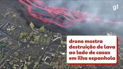 Drone mostra destruição após erupções de vulcão em La Palma