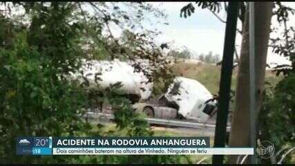 Acidente entre dois caminhões gera lentidão na Rodovia Anhanguera, em Vinhedo