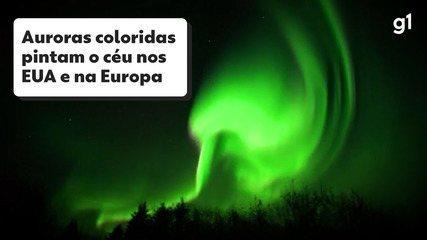 Tempestade solar provoca auroras coloridas pelos EUA e Europa