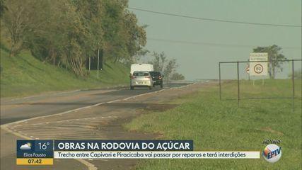 Trecho da Rodovia do Açúcar, entre Capivari e Piracicaba, terá interdição para reparos