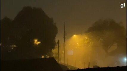 Chuva e fortes ventos foram registrados em Foz do Iguaçu