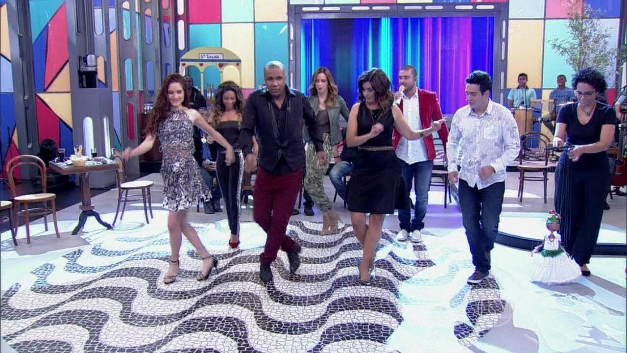 Fátima Bernardes, Ana Furtado, Diogo Nogueira e Cinara Leal fazem aula de samba