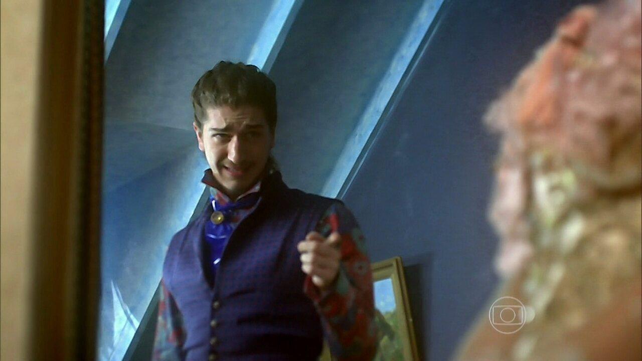 Meu Pedacinho de Chão - capítulo de sexta-feira, dia 23/05/2014, na íntegra - Ferdinando confessa a Catarina seu plano de beijar Gina
