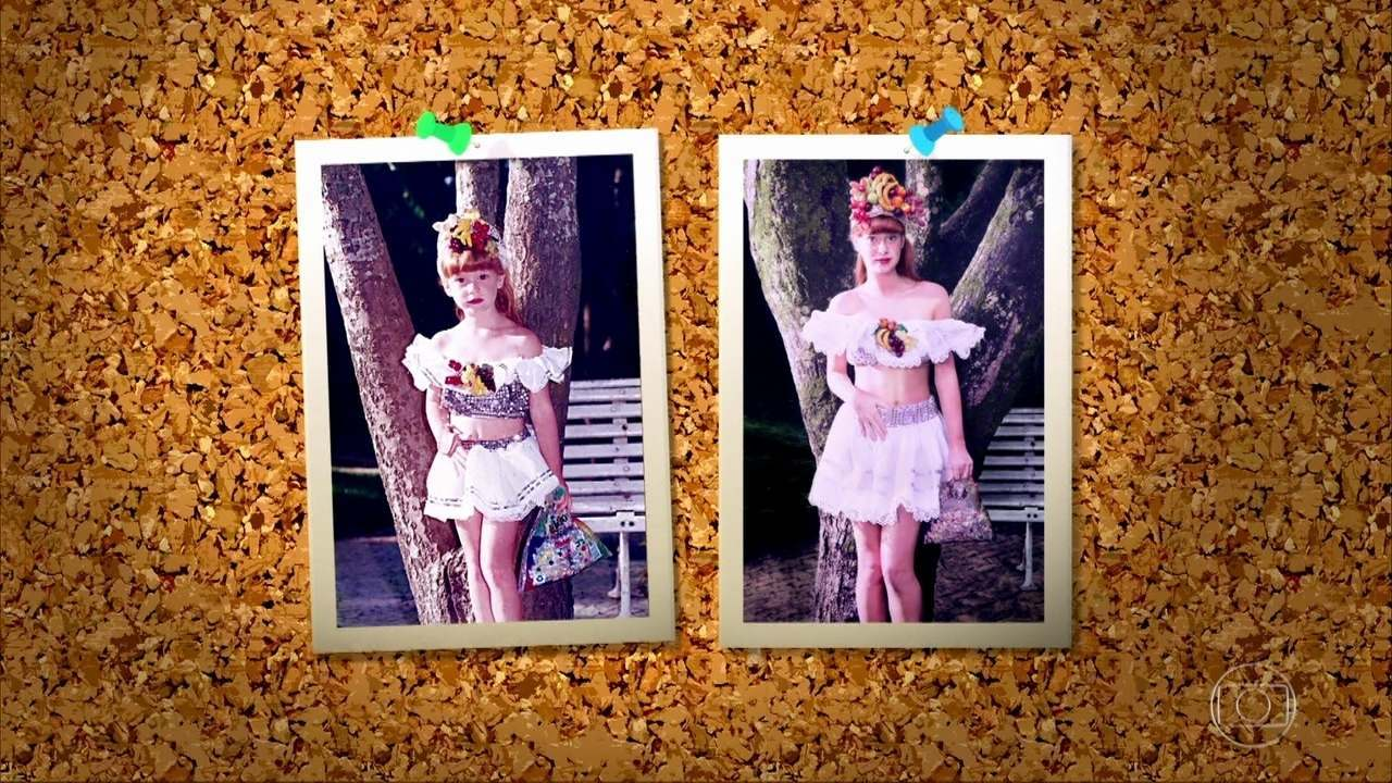 Marina Ruy Barbosa refaz foto da infância no 'Memória Fotográfica'