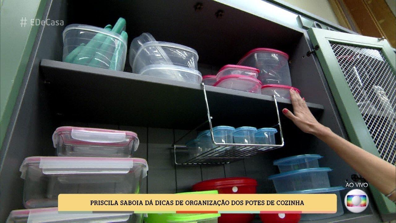 e6edc0d78 Priscilla Saboia dá dicas de organização de potes de cozinha (09 04 2016)