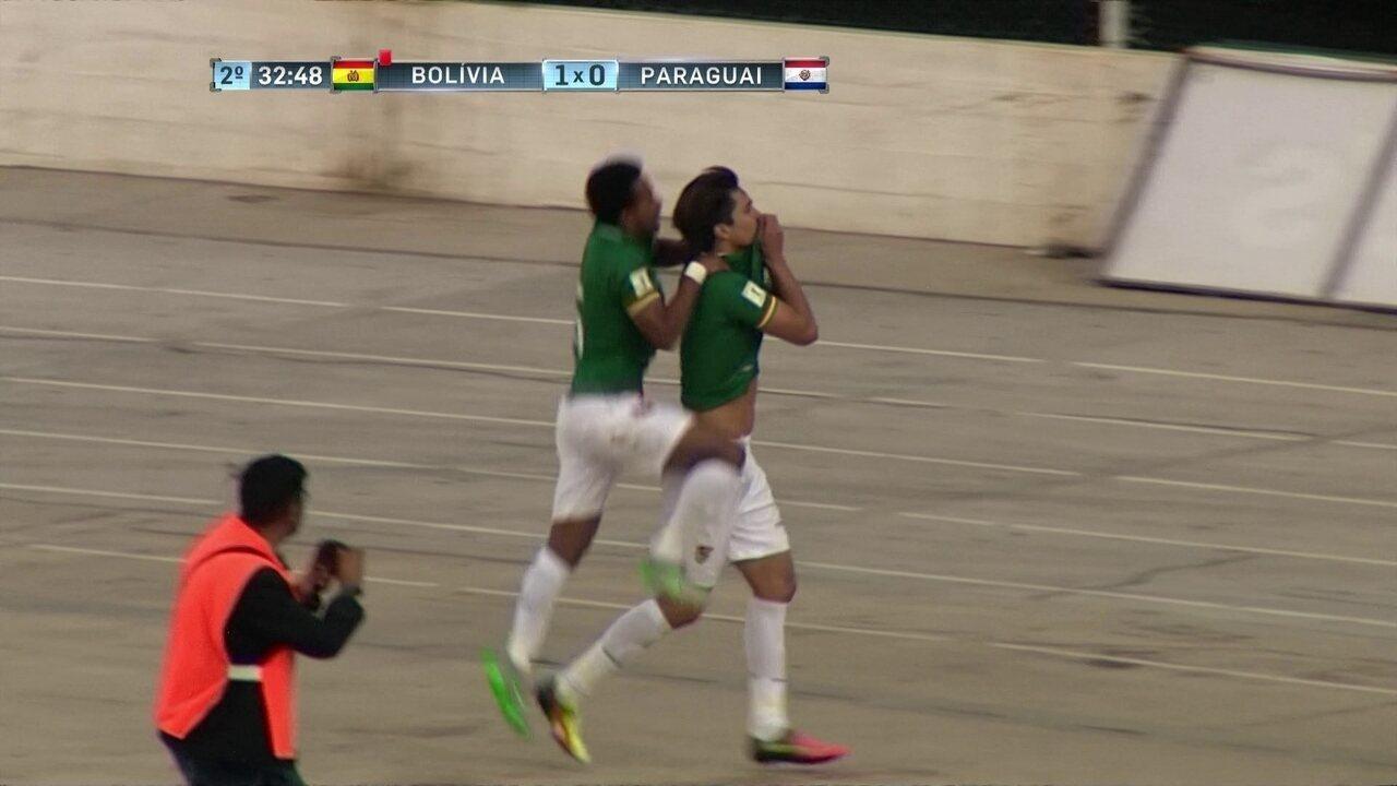 Gol da Bolívia! Marcelo Moreno dribla Silva, e bola toca em defensor e entra aos 33 do 2º