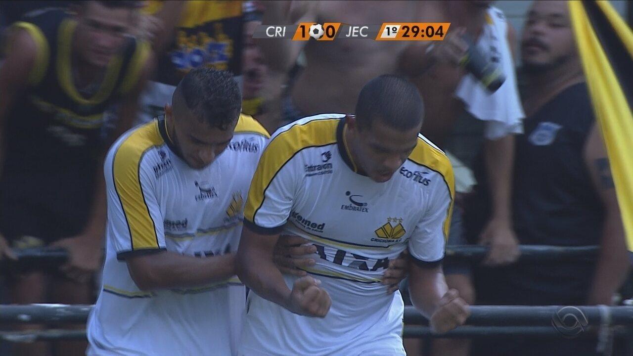 Gol do Criciúma! Jheimy pega sobra e manda para as redes do Joinville!