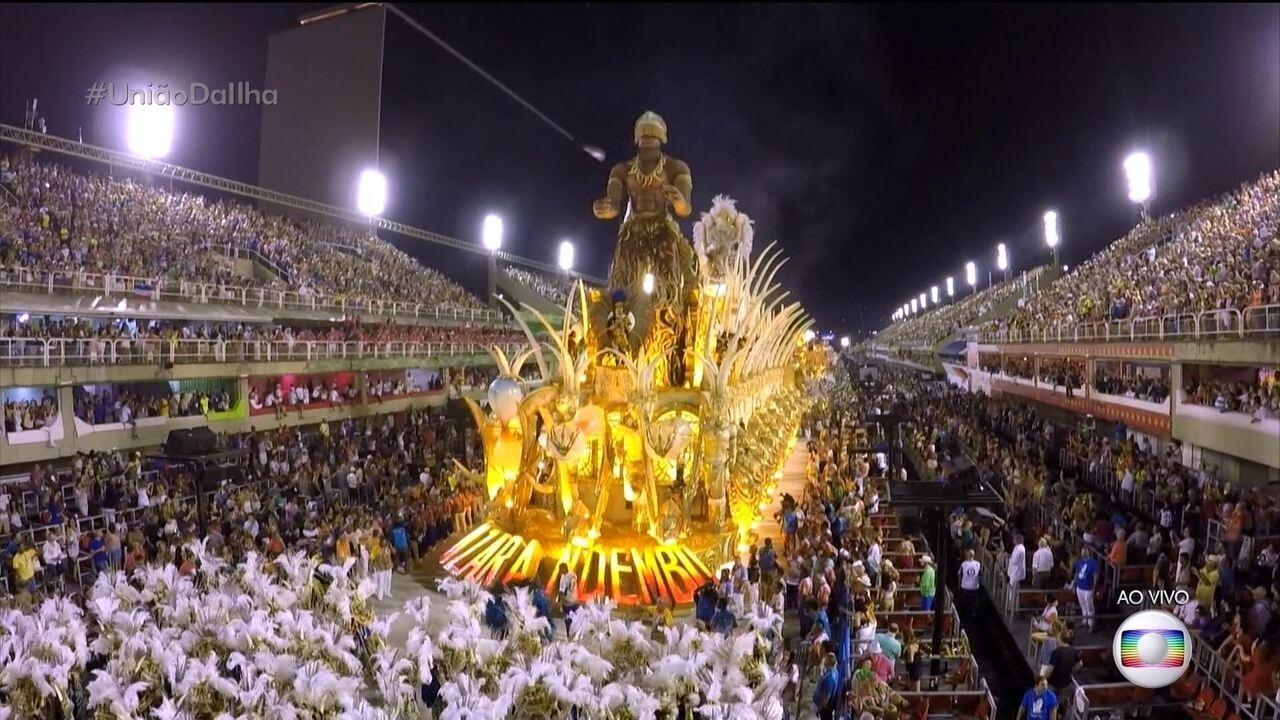 Abre-alas da União da Ilha representa o Templo da Criação