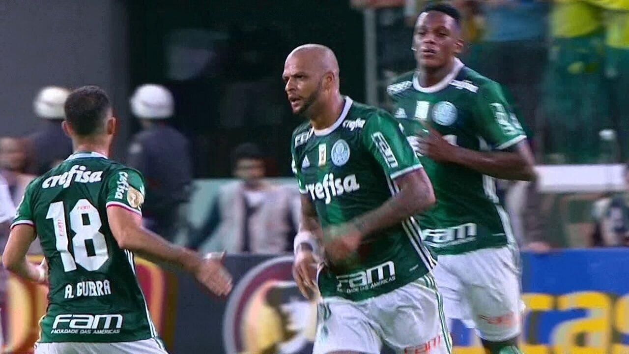 Gol do Palmeiras! Michel Bastos cobra escanteio e Felipe Melo faz de cabeça aos 37 do 2º