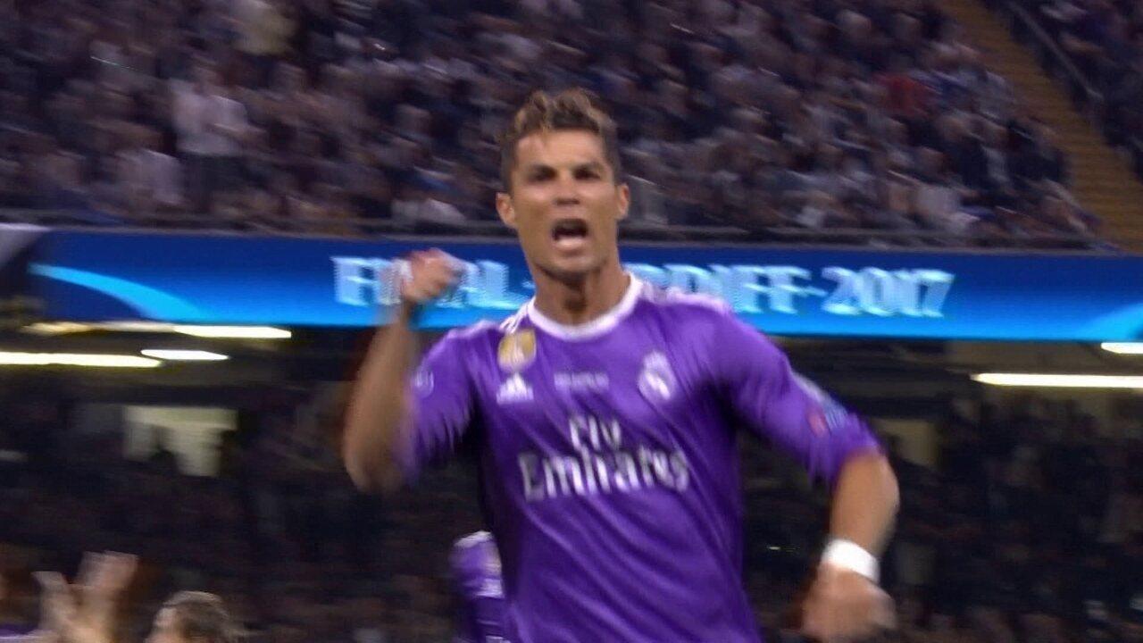 Gol do Real Madrid! Carvajal cruza, Cristiano Ronaldo abre o placar, aos 19' do 1º tempo