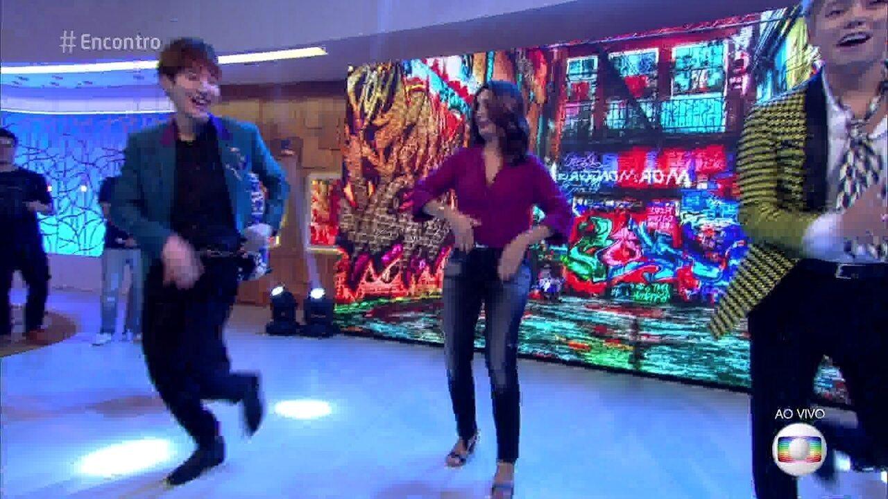 Fátima Bernardes dança K-pop com a banda Masc