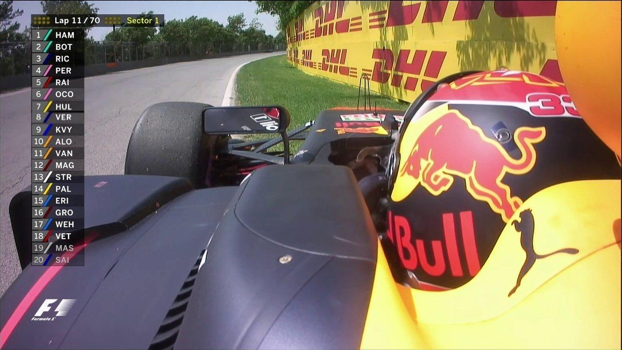 Max Verstappen encosta ao lado da pista e é fim de prova para o holandês