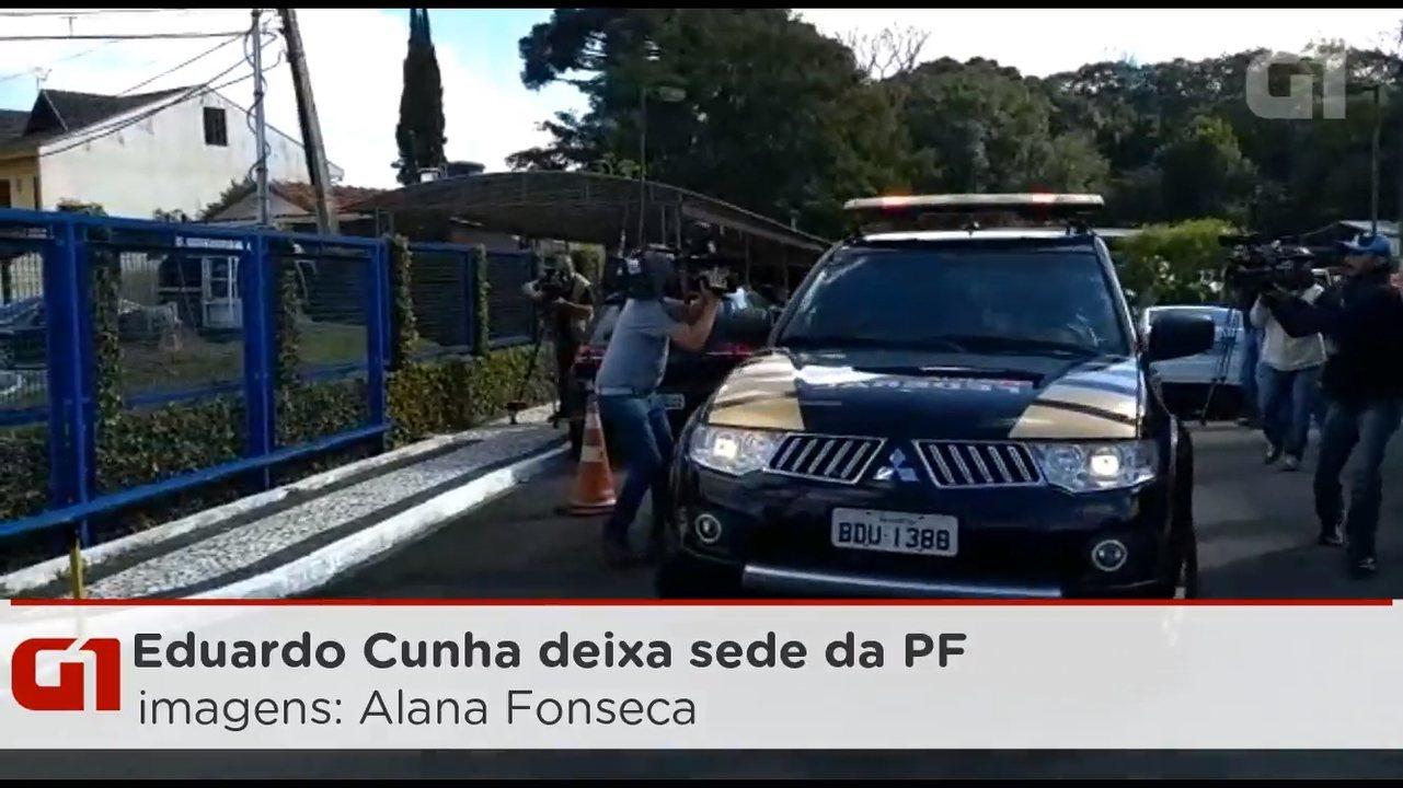 Eduardo Cunha deixa a sede da PF em Curitiba