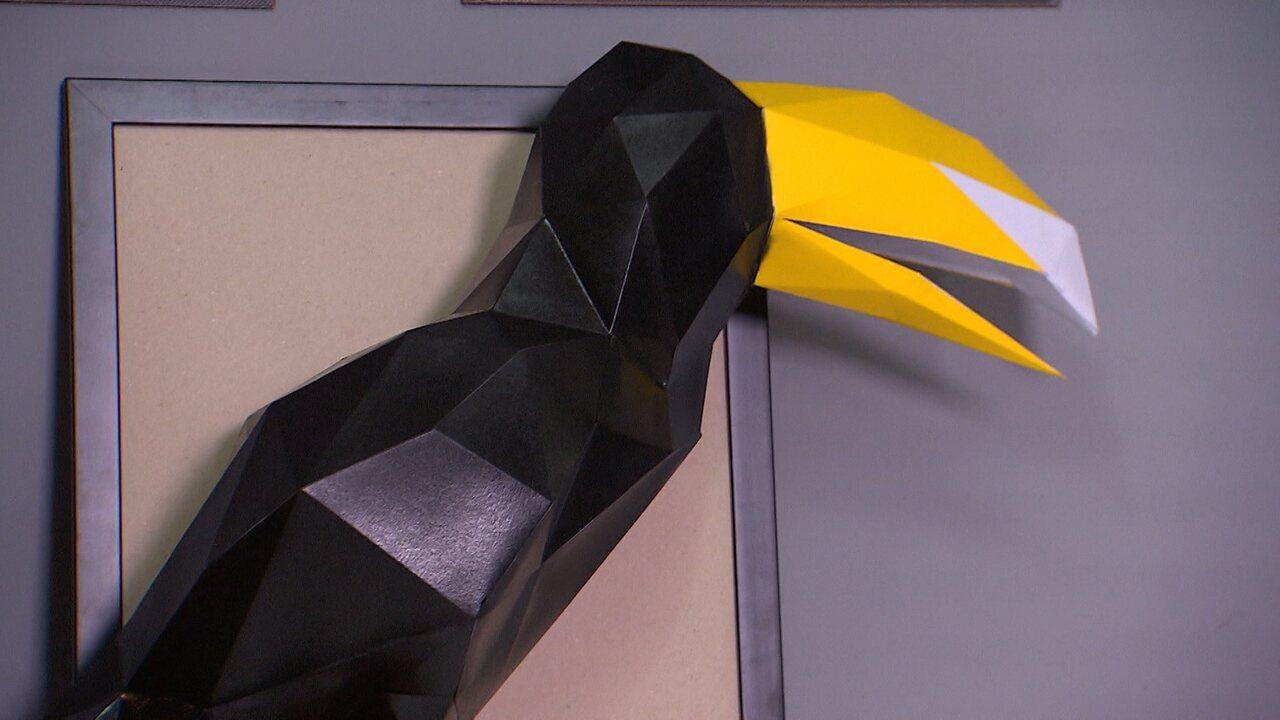 A artesã Jéssica Brunello cria bichos decorativos em 3D com a técnica papercraft