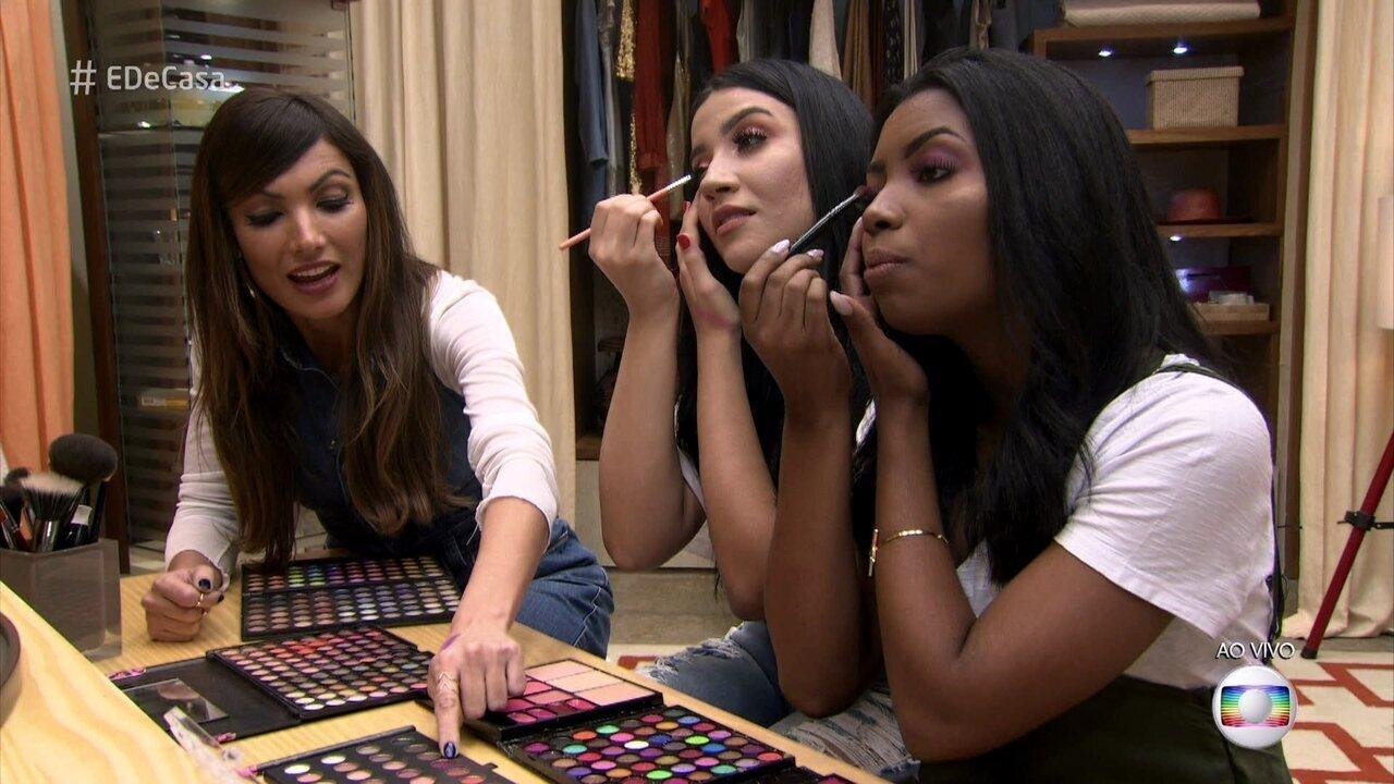 Bianca Andrade e Camila Nunes mostram como aplicar sombras coloridas