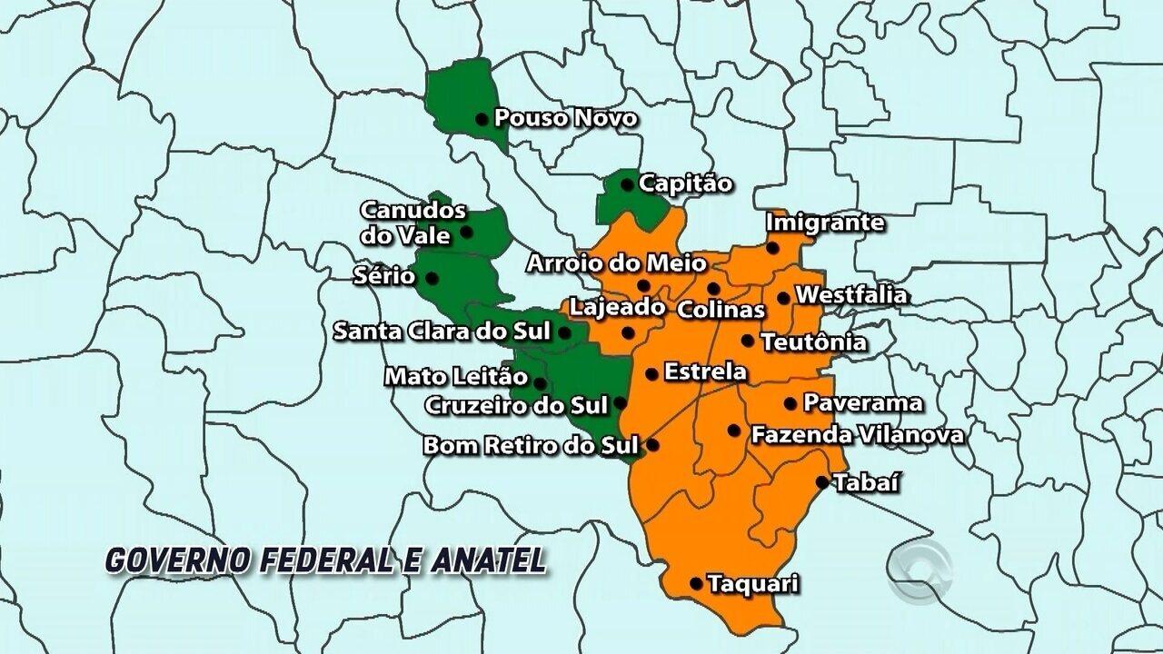 Mapa do desligamento do sinal analógico da RBS TV: 19 cidades dos Vales vão ser atingidas