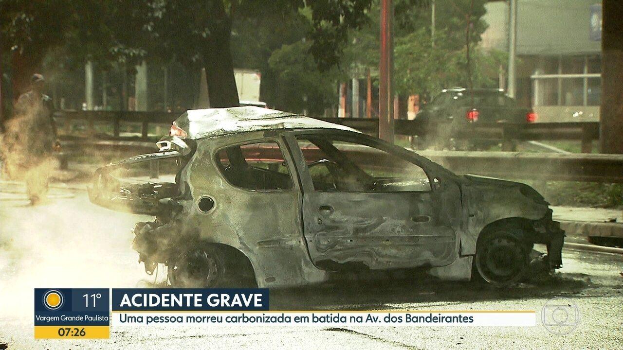 Homem morre carbonizado em acidente de trânsito na Zona Sul de SP