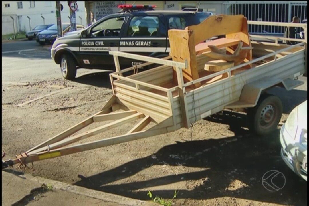 Vários equipamentos agrícolas foram apreendidos  nas residências dos suspeitos