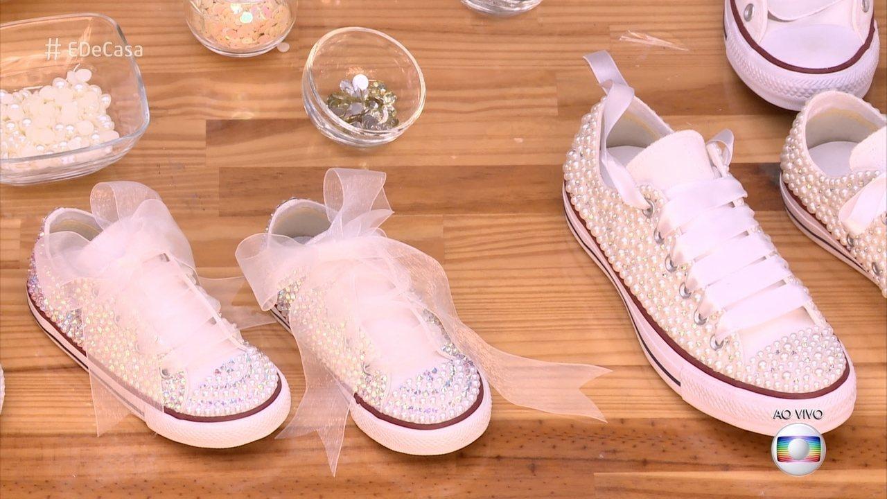 Irani customiza tênis e sapatos com aplicações de pérolas