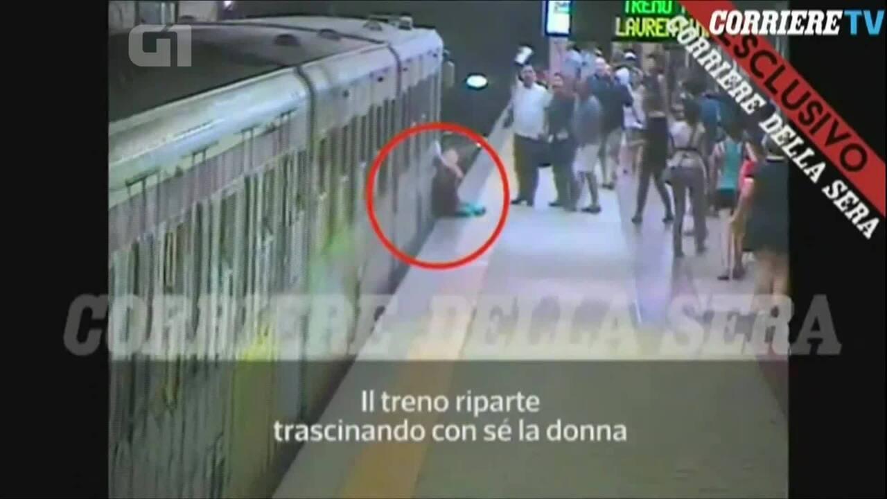 Mulher é arrastada ao ficar com bolsa presa na porta de metrô em Roma
