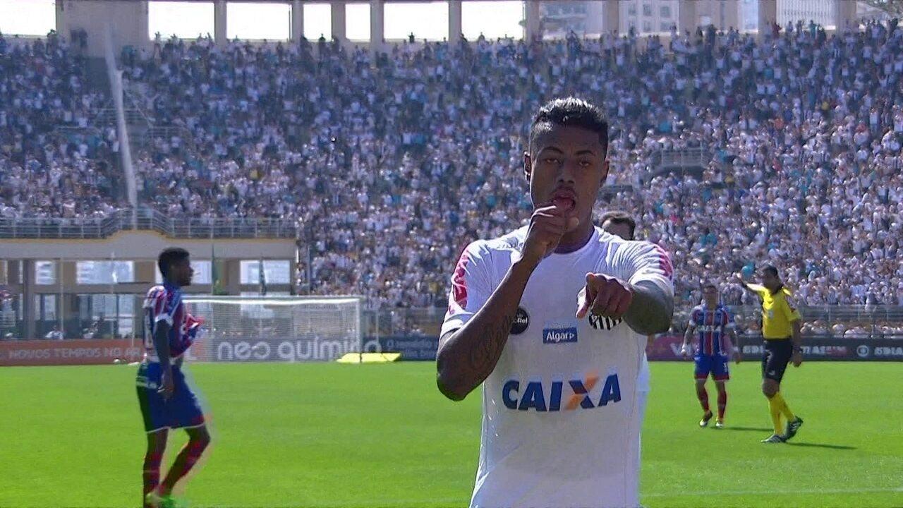 Gol do Santos! Bruno Henrique faz 3º e vai pedir música no Fantástico, aos 31 do 2º tempo