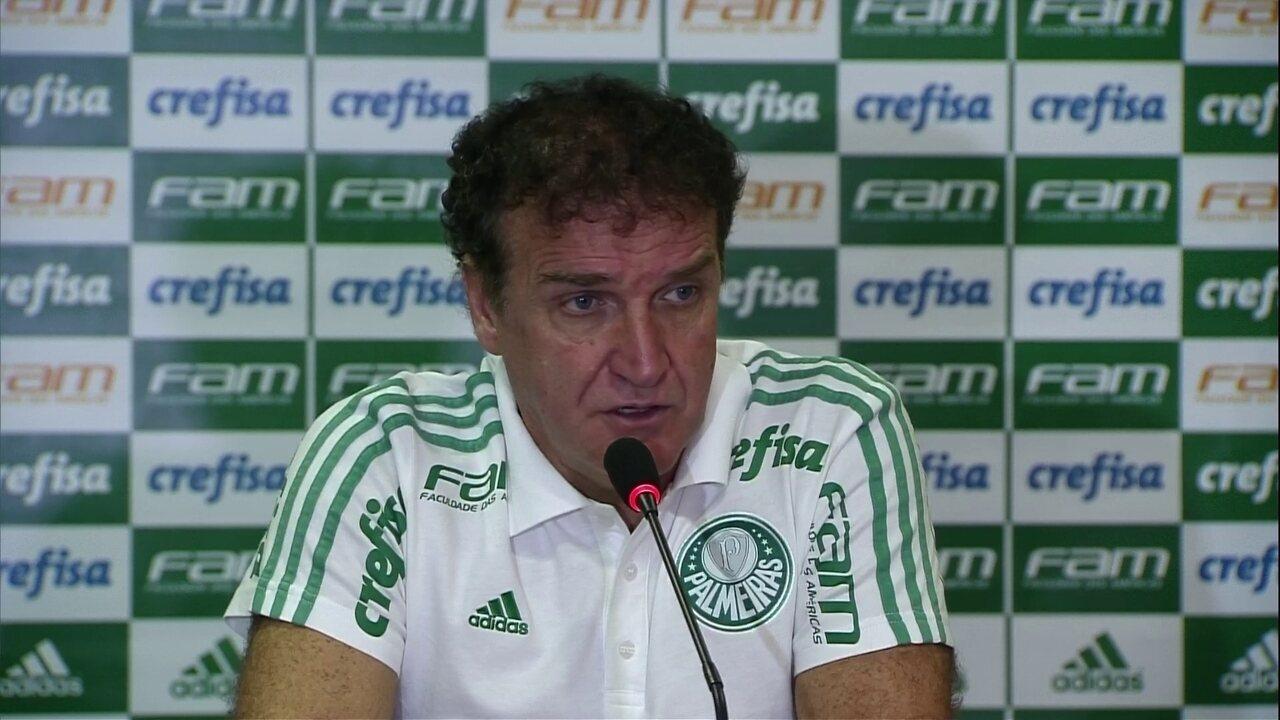 Cuca ressalta força do elenco do Palmeiras e diz que invencibilidade de Jailson é incrível