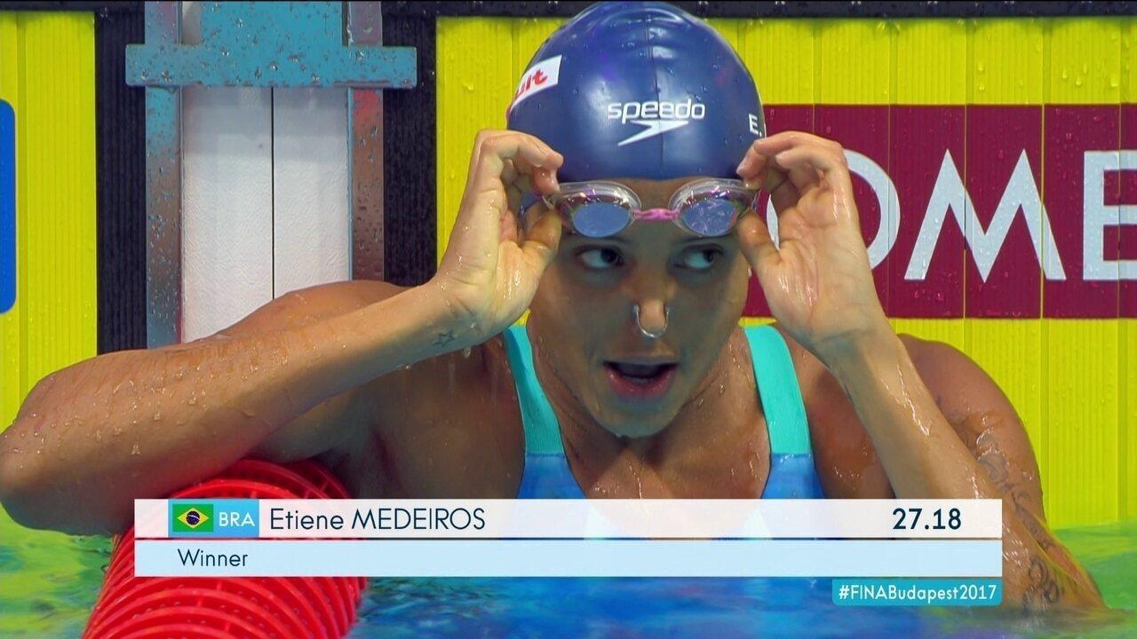 Etiene Medeiros fica 1º lugar e passa para a final dos 50m costas feminino  no Mundial 8ce06ba08b2cd