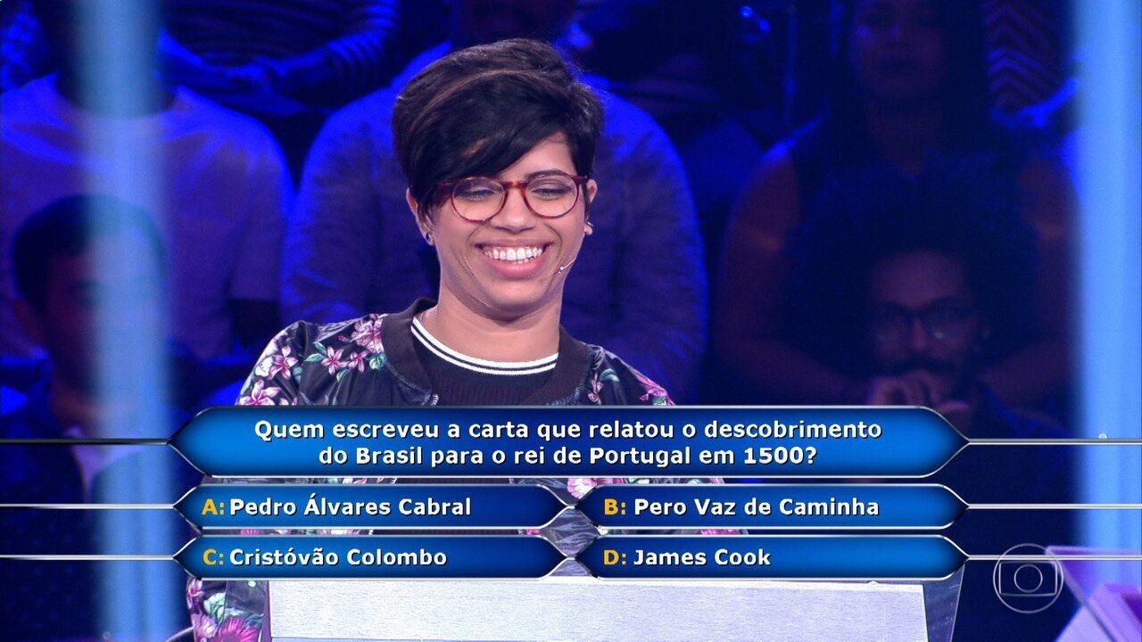 Daiane Mendes conquista R$ 15 mil no 'Quem Quer Ser Um Milionário'