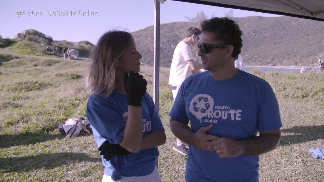 Fernanda de Freitas conhece o projeto 'Route' que retira lixo das praias