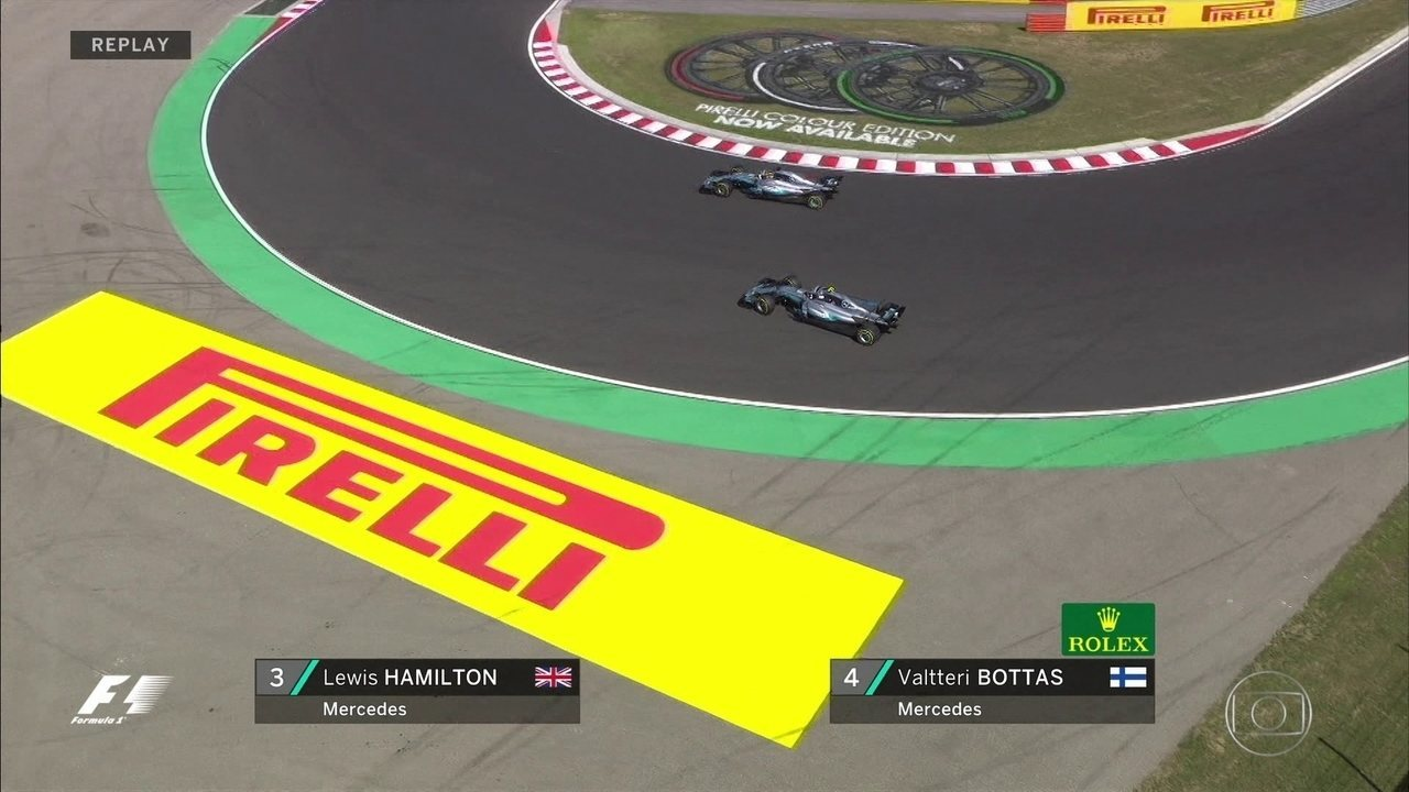 Lewis Hamilton não tem problemas para passar por Valtteri Bottas. Jogo de equipe?