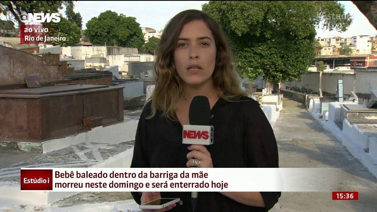 Bebê baleado dentro da barriga da mãe é velado em cemitério de Caxias