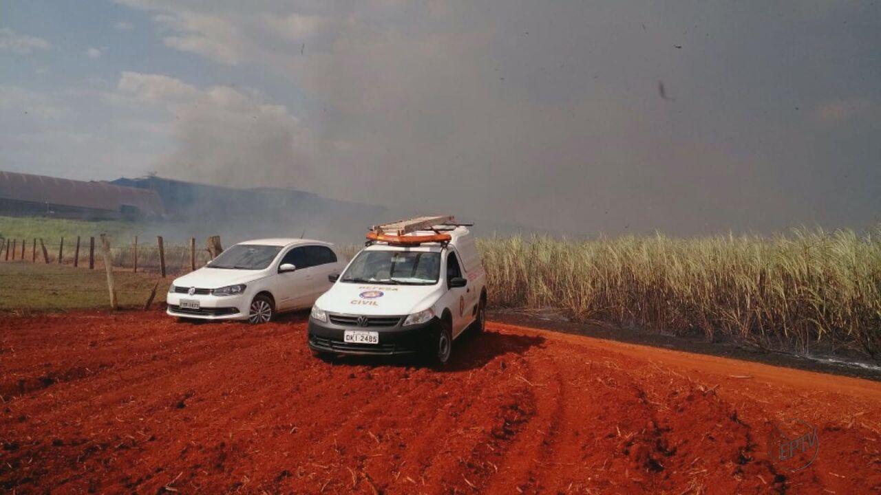 Bombeiros e Defesa Civil tentam controlar incêndio em área de Santa Gertrudes