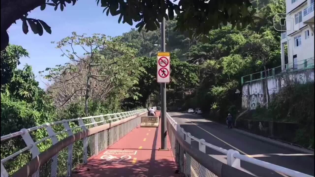 Ciclistas desrespeitam interdição na Avenida Niemeyer