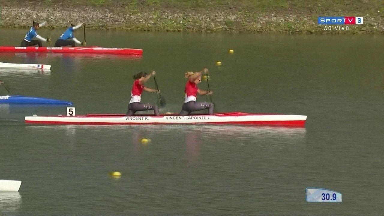Angela e Andrea Aparecida participam de prova do C2 500 no Mundial de canoagem