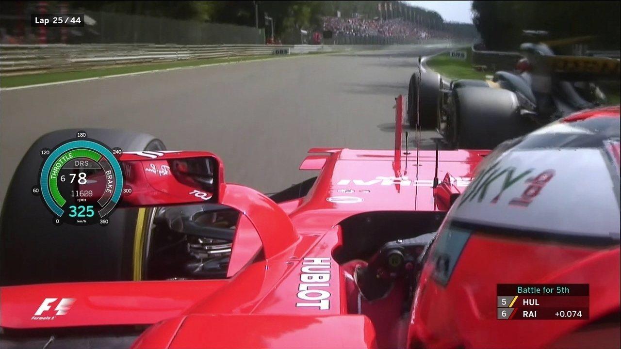 Kimi Raikkonen faz ultrapassagem para cima do Hulkenberg