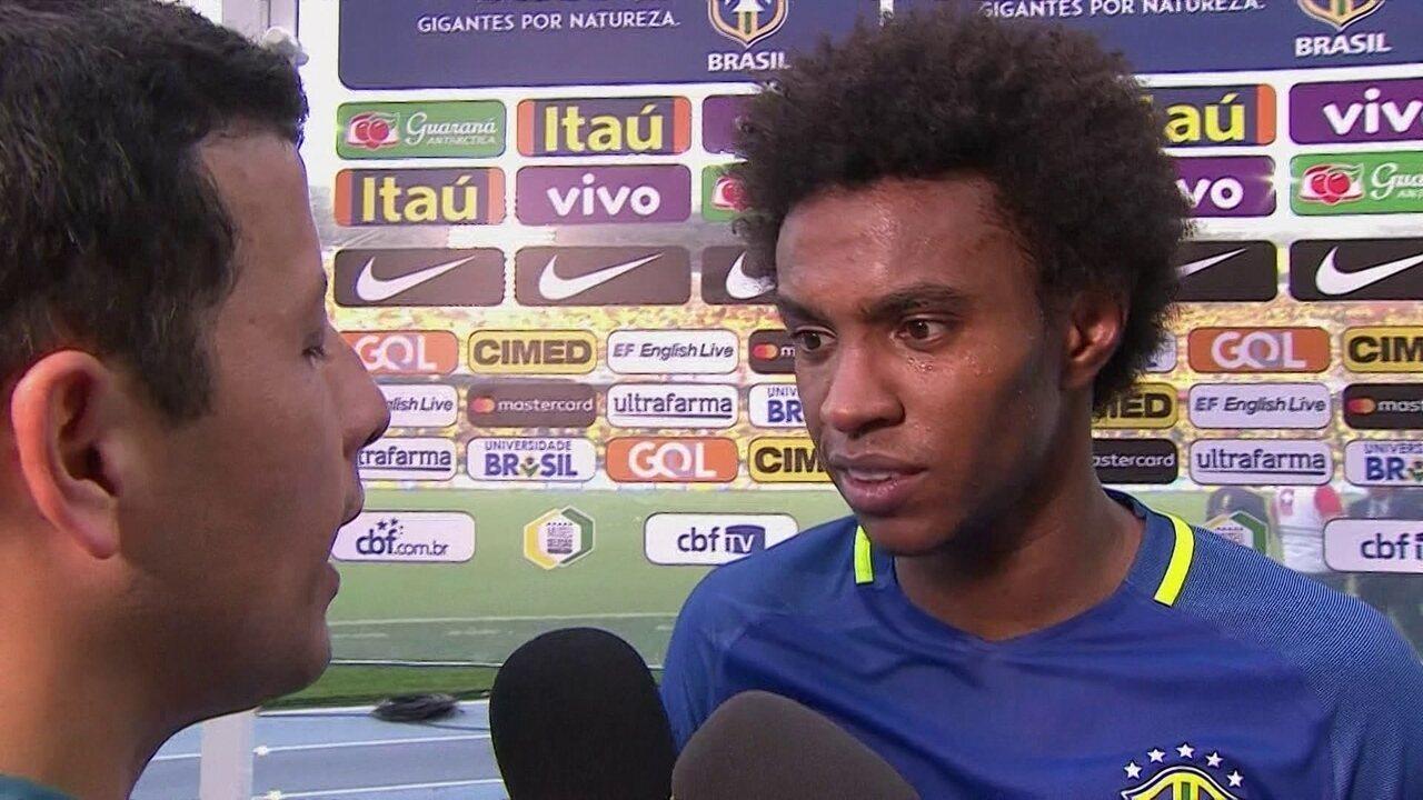 Willian diz que gol contra Colômbia foi o mais bonito pela Seleção