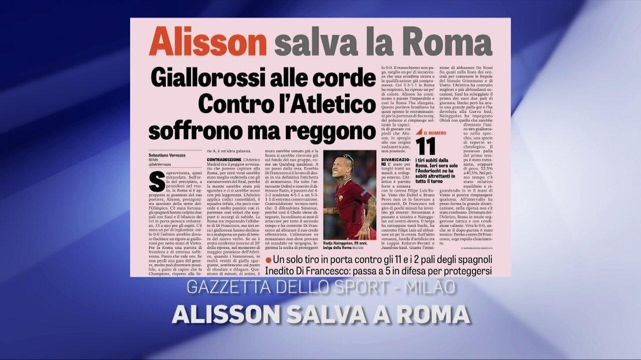 Jornais destacam a atuação de Alisson na Liga dos Campeões