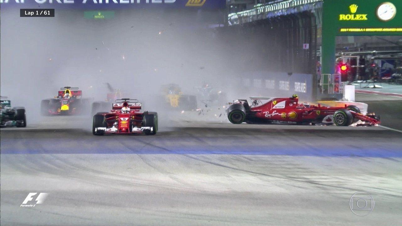GP de Cingapura começa com choque entre Verstappen, Raikkonen e Vettel