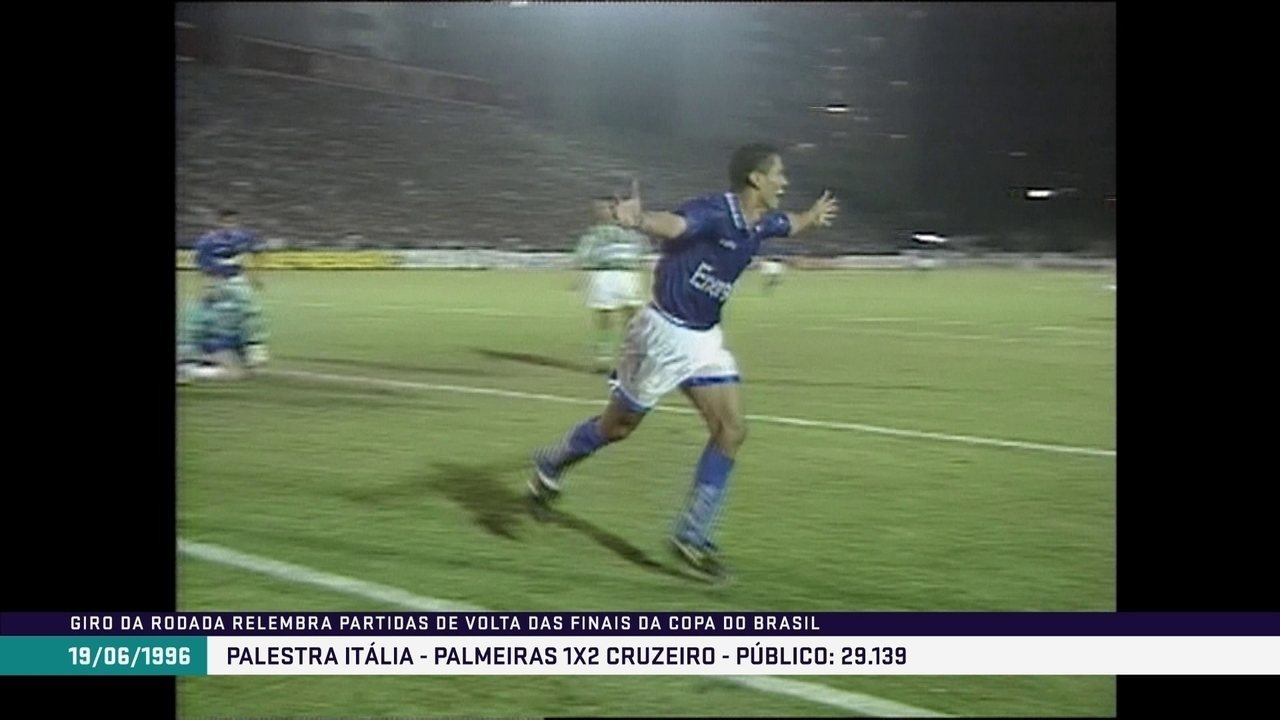 Em 1996, Cruzeiro derrota o Palmeiras e ganha a Copa do Brasil